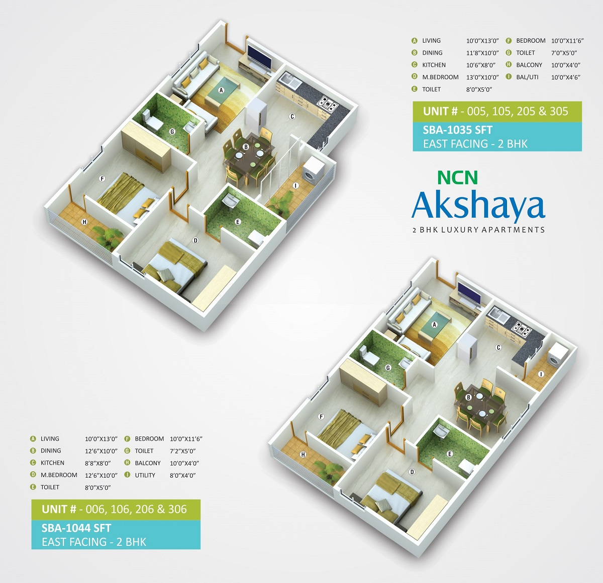 2 BHK North Facing 1044 sq ft Apartment