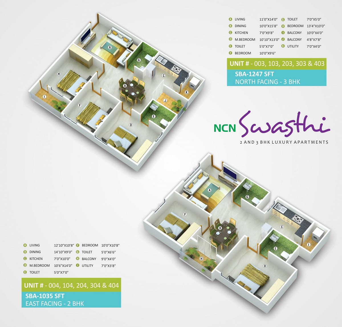 2 BHK West Facing 1044 sq ft Apartment
